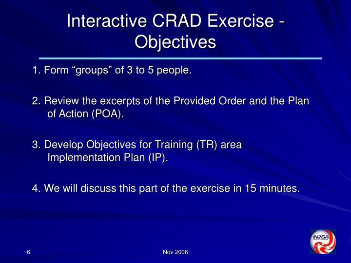 Interactive CRAD Exercise - Objectives
