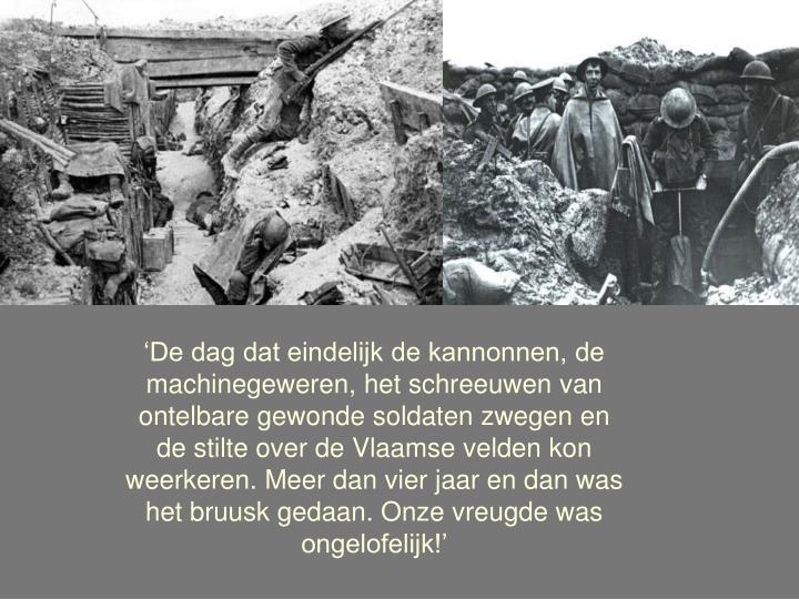 'De dag dat eindelijk de kannonnen, de machinegeweren, het schreeuwen van ontelbare gewonde soldat...