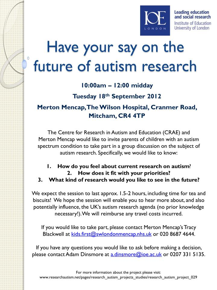Have your say on the future of autism research