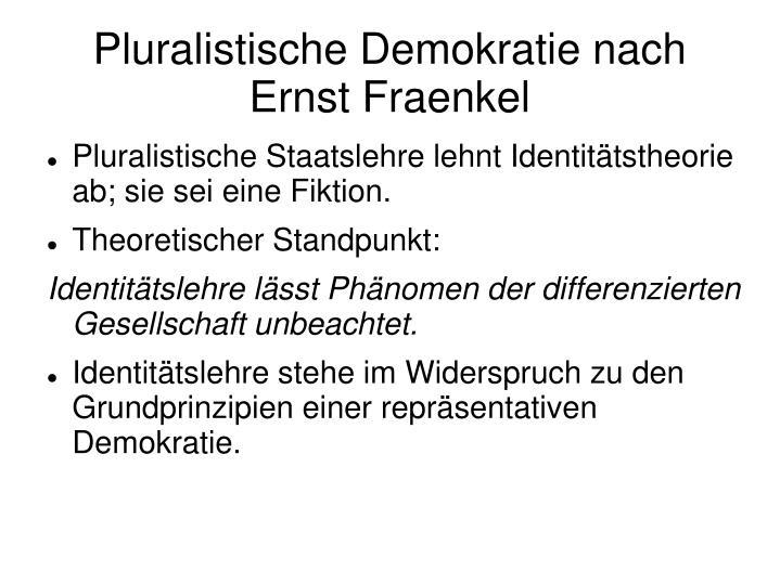 Pluralistische Demokratie nach Ernst Fraenkel