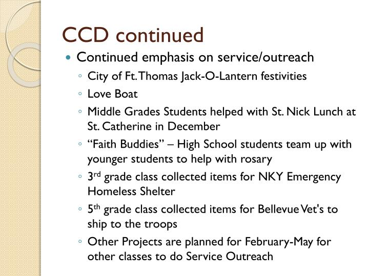 CCD continued