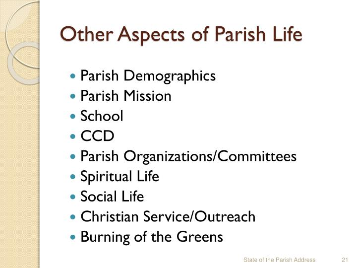 Other Aspects of Parish Life