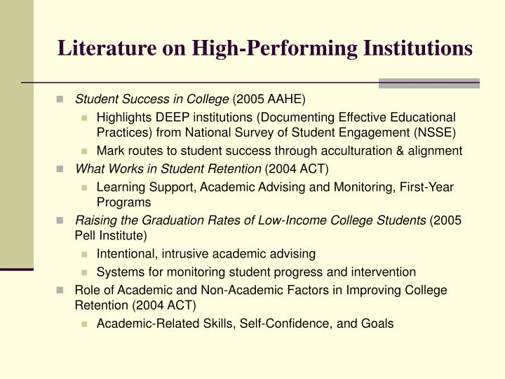 Literature on high performing institutions