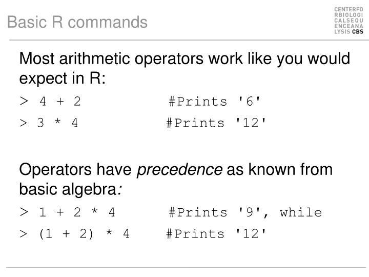Basic R commands