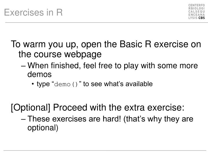 Exercises in R