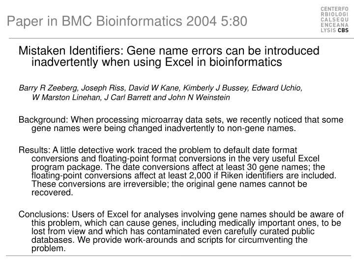 Paper in BMC Bioinformatics 2004 5:80