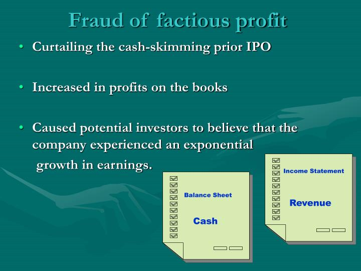 Fraud of factious profit