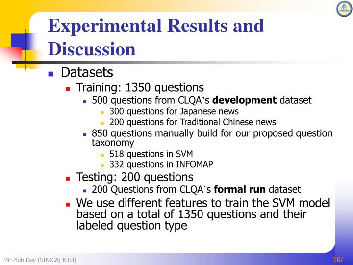 Experimental Results and Discussion