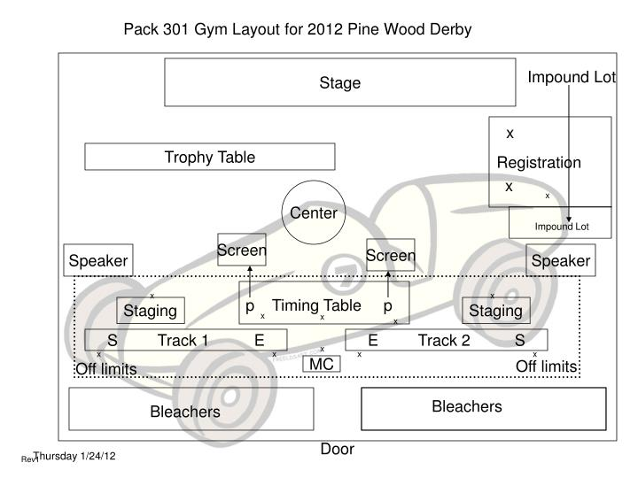 Pack 301 Gym Layout for 2012 Pine Wood Derby