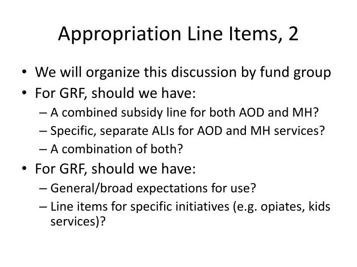 Appropriation Line Items, 2
