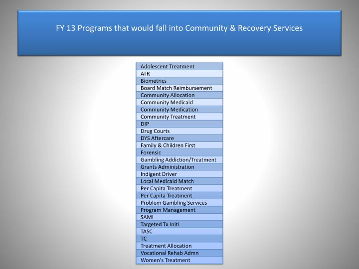 FY 13 Programs that would fall into Community & Recovery Services
