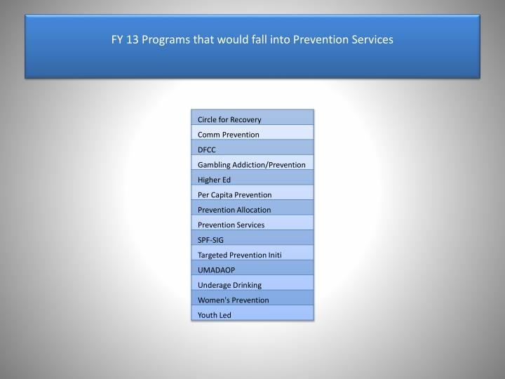 FY 13 Programs that would fall into Prevention Services
