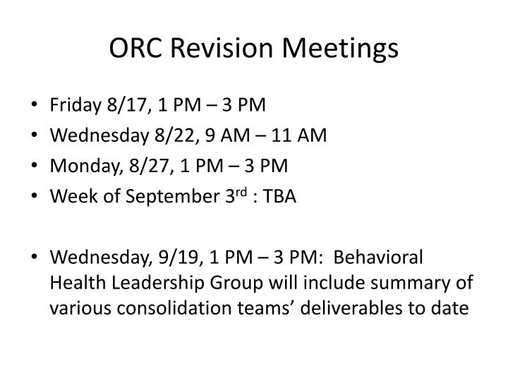 ORC Revision Meetings