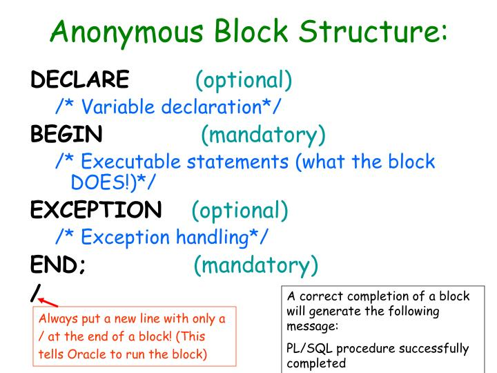 Anonymous Block Structure:
