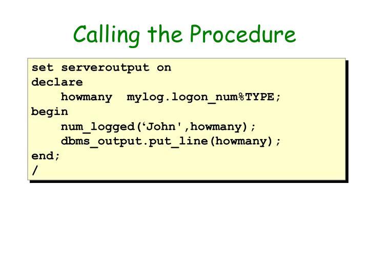 Calling the Procedure