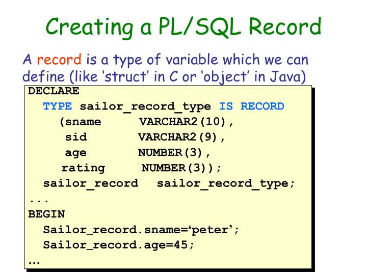 Creating a PL/SQL Record