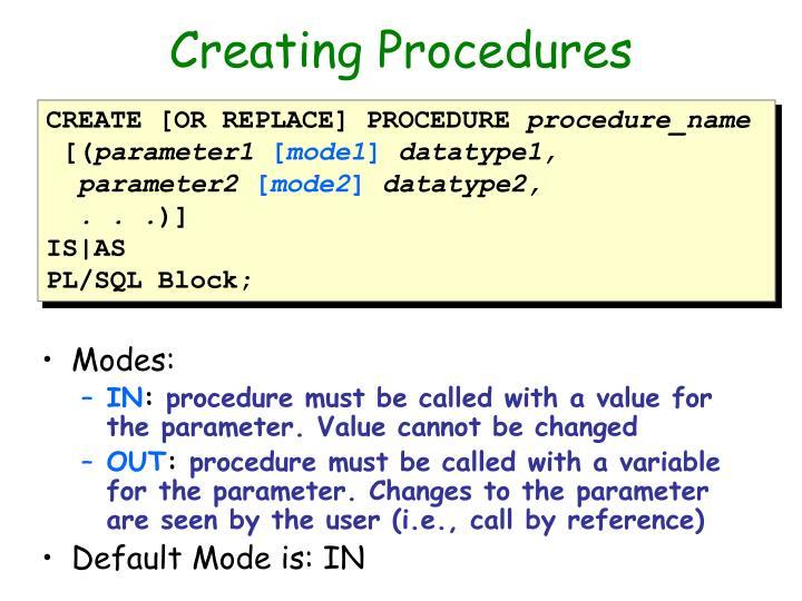 Creating Procedures