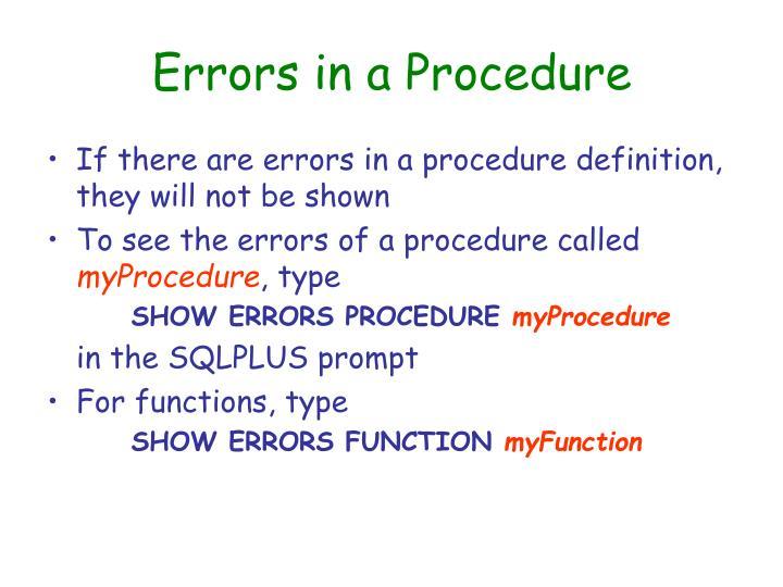 Errors in a Procedure