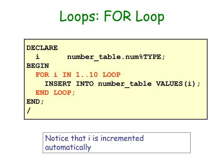 Loops: FOR Loop