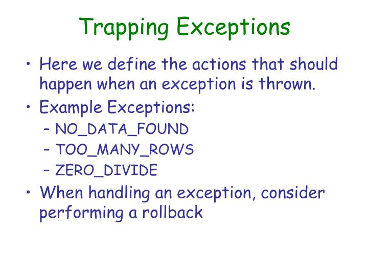 Trapping Exceptions