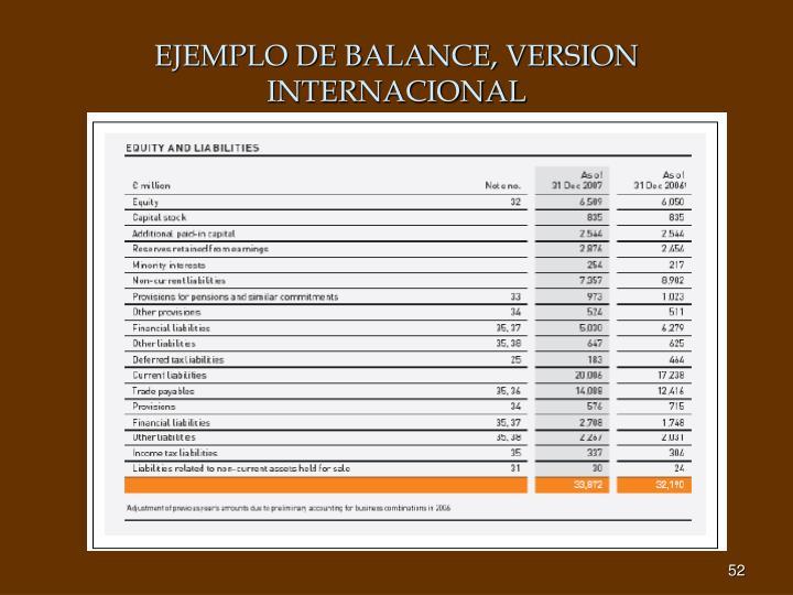 EJEMPLO DE BALANCE, VERSION INTERNACIONAL