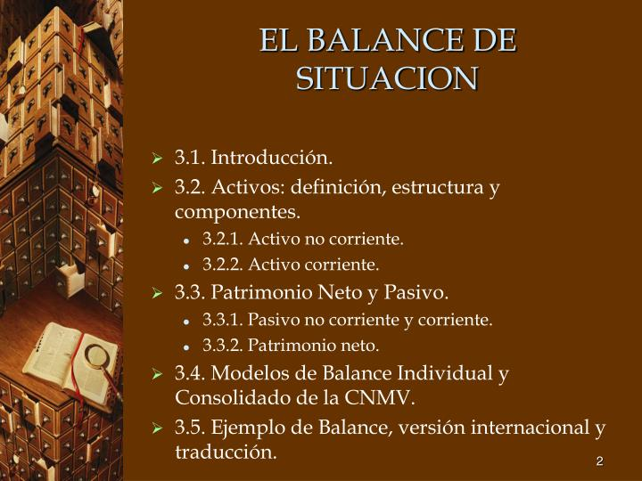 El balance de situacion