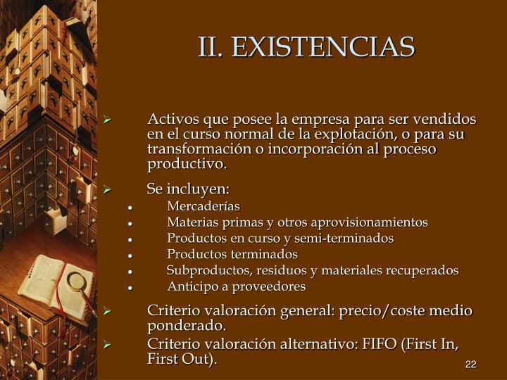 II. EXISTENCIAS