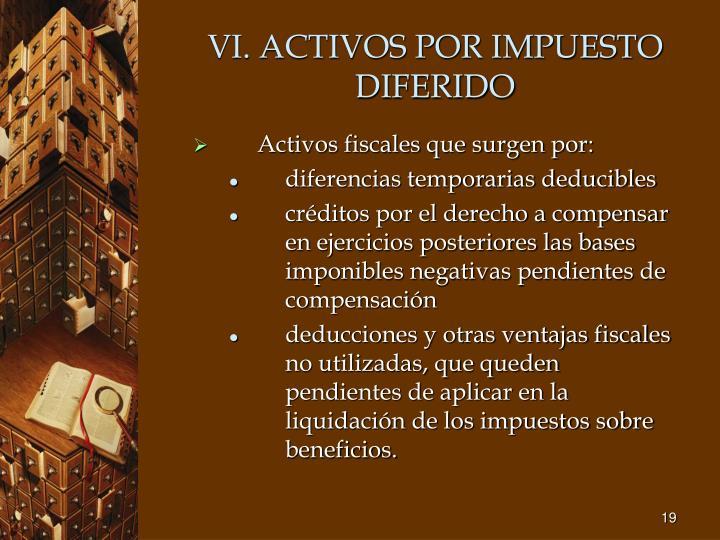 VI. ACTIVOS POR IMPUESTO DIFERIDO