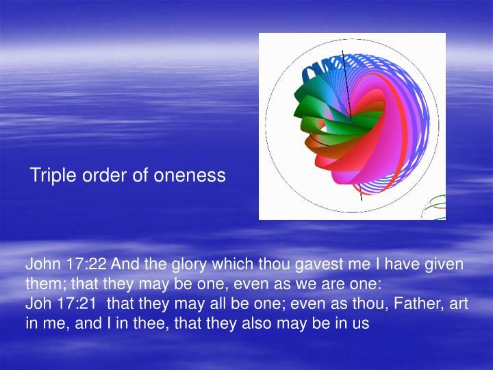 Triple order of oneness