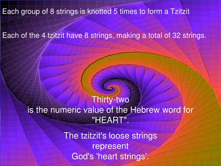 Each group of 8 strings is knotted 5 times to form a Tzitzit