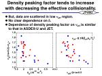 density peaking factor tends to increase with decreasing the effective collisionality
