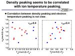 density peaking seems to be correlated with ion temperature peaking