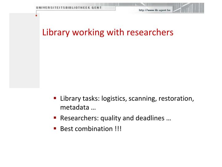 Library working with researchers