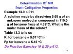 determination of mm from colligative properties