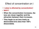effect of concentration on i