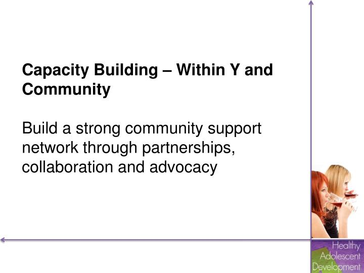 Capacity Building – Within Y and Community
