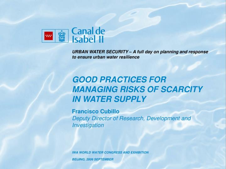 URBAN WATER SECURITY – A full day on planning and response to ensure urban water resilience