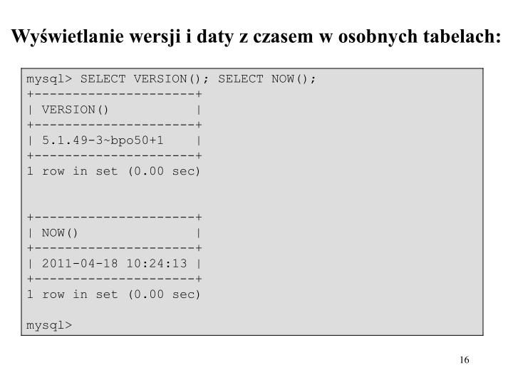 Wyświetlanie wersji i daty z czasem w osobnych tabelach: