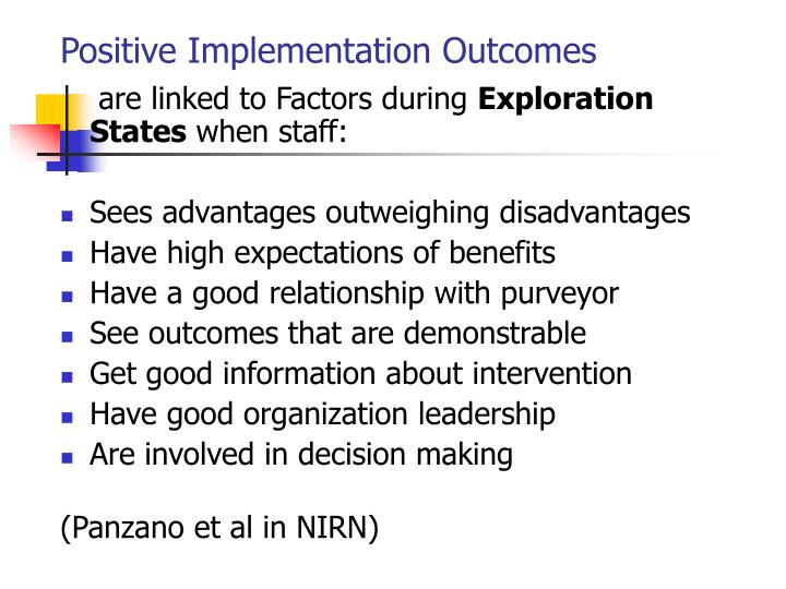 Positive Implementation Outcomes