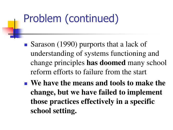 Problem (continued)