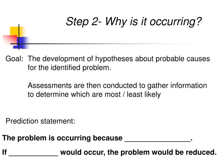 Step 2- Why is it occurring?