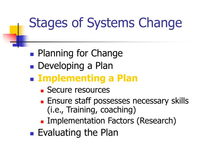 Stages of Systems Change
