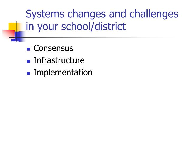 Systems changes and challenges in your school/district