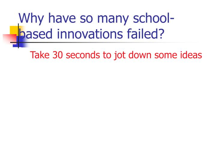 Why have so many school-based innovations failed?