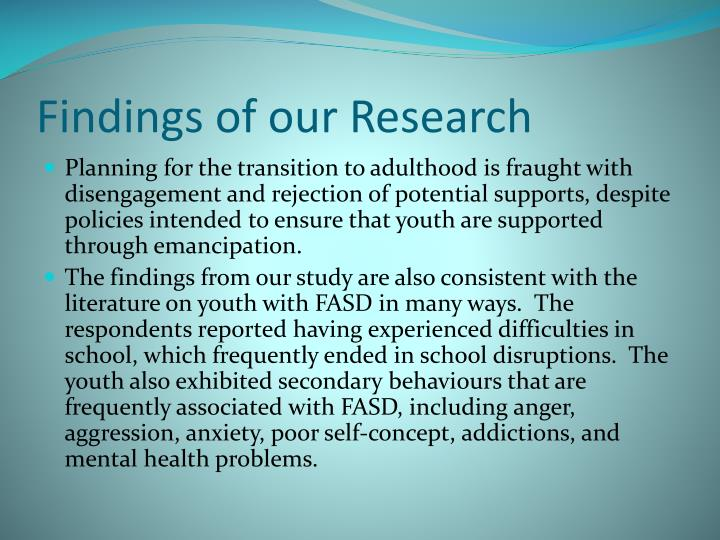 Findings of our Research
