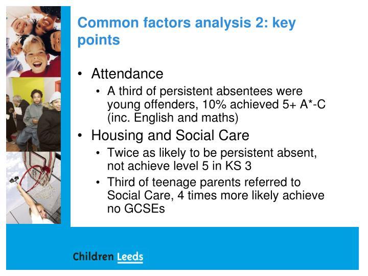 Common factors analysis 2: key points