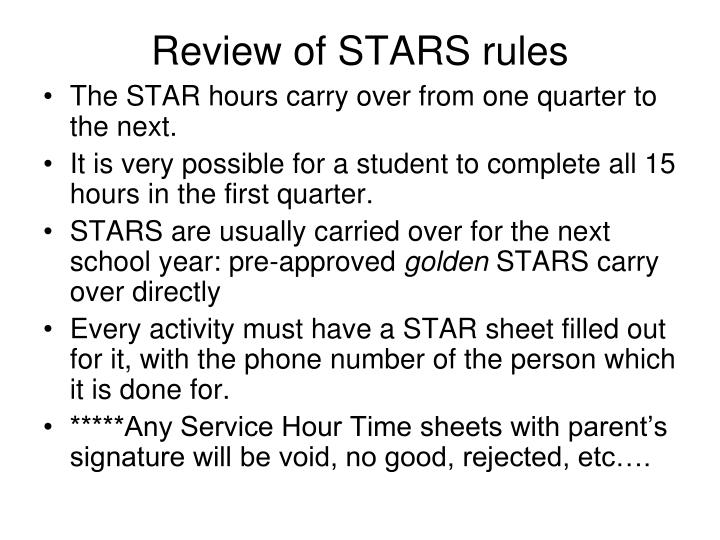 Review of STARS rules