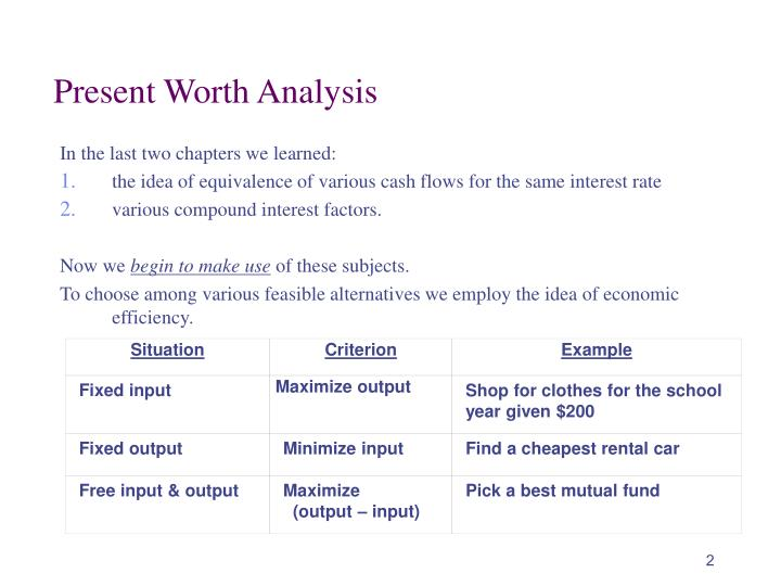 Present worth analysis1