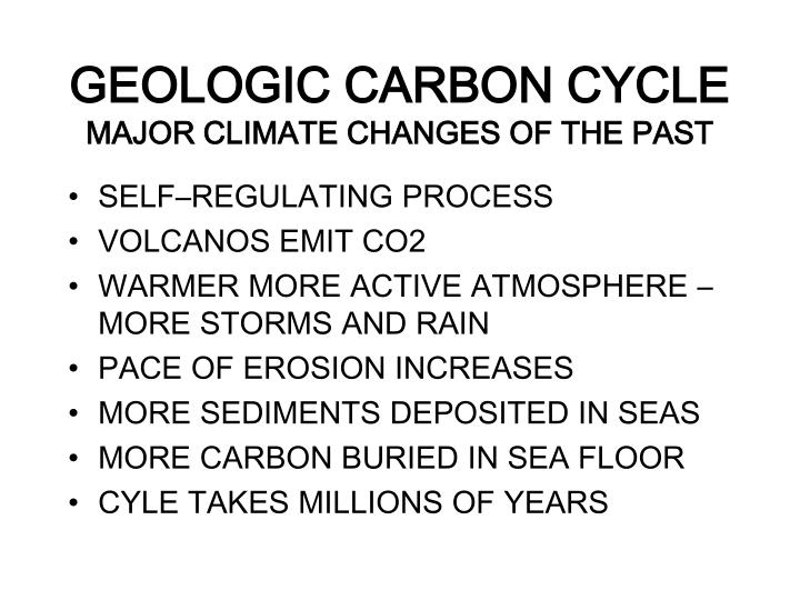 Geologic carbon cycle major climate changes of the past