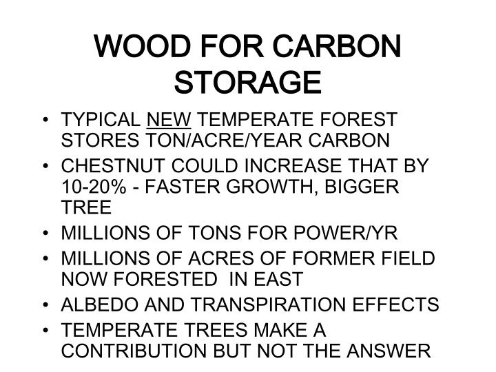 WOOD FOR CARBON STORAGE
